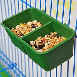 2-in-1 Double Trough Bird Seed Food Feeding Dish Water Feede