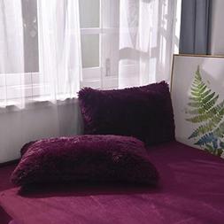 2 PC Fluffy Faux Fur Pillow Case Cozy Shaggy Plush Pillow Sh