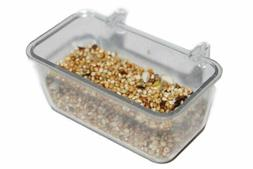 4 Pcs Bird Cage Seed Water Food Feeder Clear Cyrstal Plastic