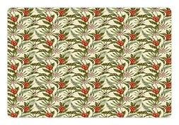 Ambesonne Leaf Pet Mat for Food and Water, Romantic Aloha Pa