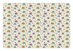 Ambesonne Owls Pet Mat for Food and Water, Illustration of B