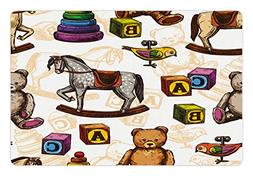 Ambesonne Vintage Pet Mat for Food and Water, Retro Style Ki