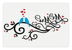 Ambesonne Wedding Pet Mat for Food and Water, Mr. and Mrs. S