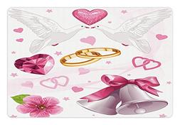 Ambesonne Wedding Pet Mat for Food and Water, Wedding Themed