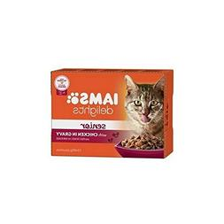 Iams Delights Senior Cat Food in Gravy 12 x 85g