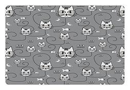 Lunarable Animal Pet Mat for Food and Water, Cartoon Style C