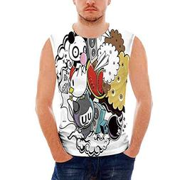 Mens Sleeveless Indie Heavy Cotton H D,Animal and Food Theme