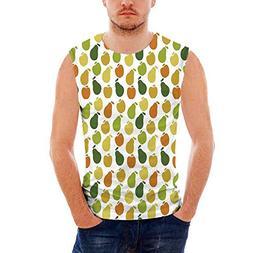 Mens Sport Sleeveless Undershirts Fruits Activewear Muscle T