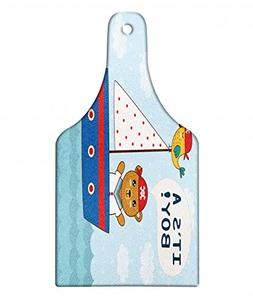 Ambesonne Ahoy Its a Boy Cutting Board, Cute Baby Shower The