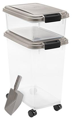 Airtight Food & Treat Storage Plastic Containers w/Scoop Chr