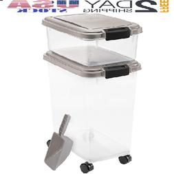 Iris Airtight Pet Food Storage Combo with Scoop, Grey