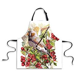 iPrint BBQ Apron,Rowan,Colorful Bird Flower and Rowan Shrubs