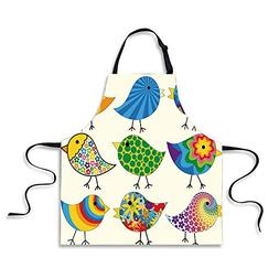 iPrint BBQ Apron,Birds,Abstract Patterned Funky Birds Colorf