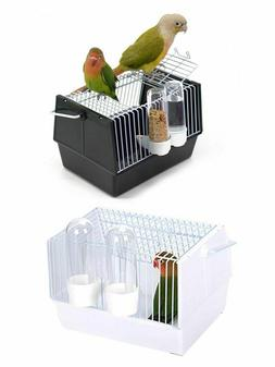 Bird Cage With Food Feeders Portable Parrot Travel Canary Ca