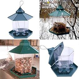 Bird Feeding - Green Pavilion Bird Feeder Outdoor Plastic Ha