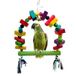 Mrli Pet Bird Swing Bridge Toys with Colorful Wooden Knots B