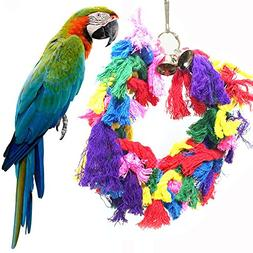 Hisoul Bird Toys Cotton Preening Bells Ropes Rings Colorful