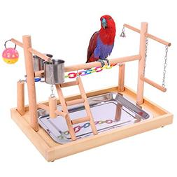 QBLEEV Bird Training Playground Parrot Wooden Perches Play G