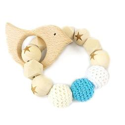 Bird Wooden Teether Chew Beads Baby Rattle Teether Nattural