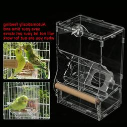 Clear Acrylic Parrot Bird Auto Feeder Food Water Bowl Hopper