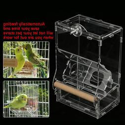 Clear Acrylic Parrot Bird Automatic Feeder Food Water Bowl H