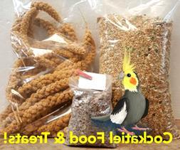 Cockatiel or Love Bird Food & Treats 5Lbs Feed 6oz Millet, C