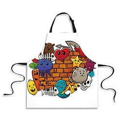 iPrint Cooking Apron,Graffiti Decor,Cute Cartoon Animals Sta