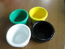 "Crock style bird or pet water/food plastic dish 08"" oz.bowl"