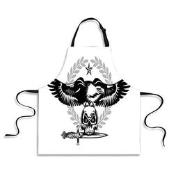 Custom Apron,Eagle,Black and White Bird Nested on a Skull Da