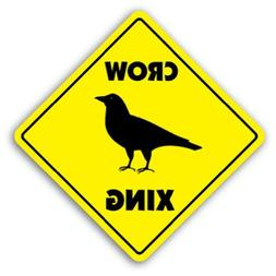 Crow Crossing Sign Novelty Black Bird Eat Scare Fly Recipe W