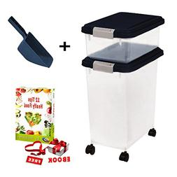 Extra Large Dog Food Container Combo Set with Casters and Ai