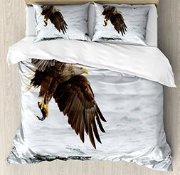 Ambesonne Eagle Duvet Cover Set Queen Size, Bird with Feathe