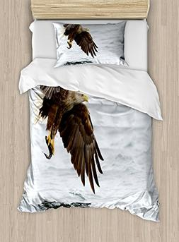 Ambesonne Eagle Duvet Cover Set Twin Size, Bird with Feather