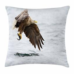 Ambesonne Eagle Throw Pillow Cushion Cover, Bird with Feathe