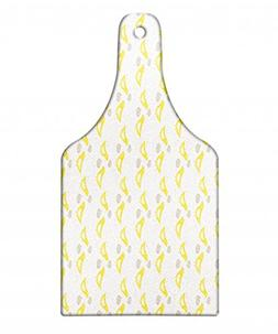 Ambesonne Grey and Yellow Cutting Board, Vintage Modern Desi