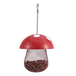 Hanging Bird Feeder for Outside Outdoor Red Mushroom Iron Ne