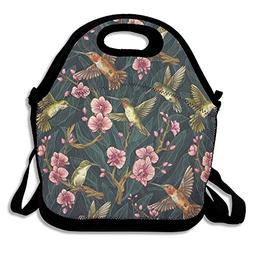 Humming Bird Tropical Ziplock Lunch Tote Bag Portable Handba