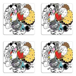 Ambesonne Indie Coaster Set of Four, Animal and Food Themed