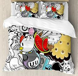 Ambesonne Indie Duvet Cover Set Queen Size, Animal and Food