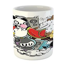 Ambesonne Indie Mug, Animal and Food Themed Composition Craz