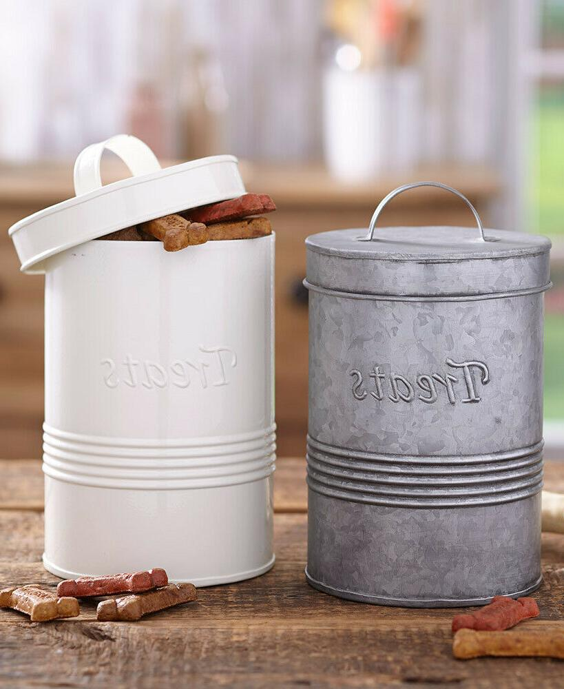 2pc retro cat puppy dog treat canister