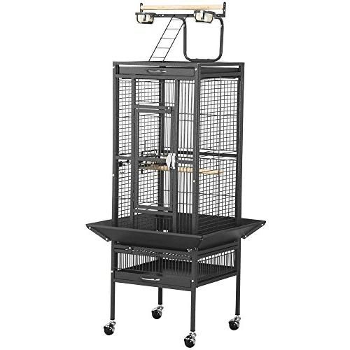 Yaheetech Black Bird Cage Parrot Cockatiel Finch w/Play Top