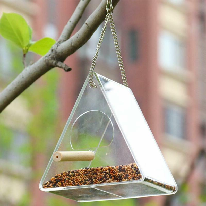 Acrylic Automatic Bird Dove Feeder Feed Food