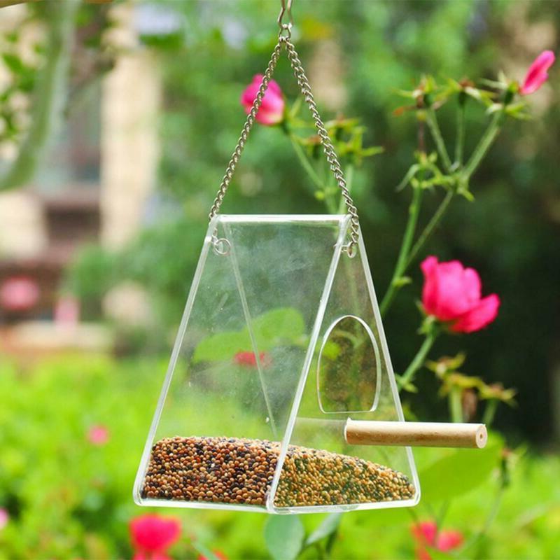 Acrylic Automatic Feeder Bird Feed Food Box Tool