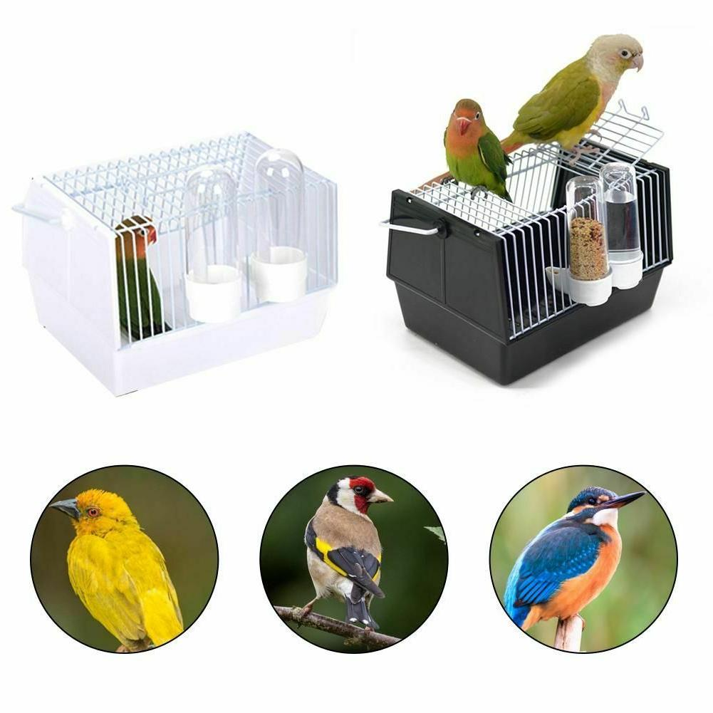 Bird Cage Portable Parrot Travel Canary Carrier Food Feeders