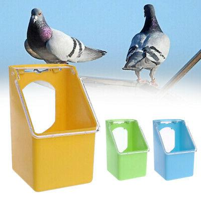 Bird Parrot Food Water Bowl Pigeons Pet Cage Cup Feeder Feed