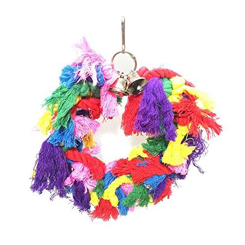 Hisoul Cotton Preening Bells Colorful Hanging Swing Birds Interactive Toy