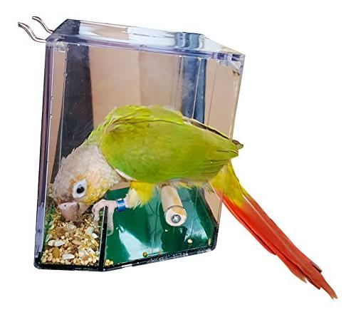 Birds LOVE Bird Seed Tray for Lovebirds, Cockatiels, Catcher No More Cage–Hanging or