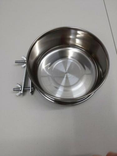 Mrli Pet Food Water Cup Clamp Stainless Steel Coop 30Oz.