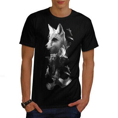 fox bear bird wild mens t shirt